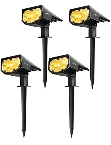 Litom 12 Led Solar Landscape Spotlights, Ip67 Waterproof Solar Powered Wall Lights 2 In 1 Wireless Outdoor Solar Landscaping Lights For Yard Garden Driveway Porch Walkway Pool Patio 4 Pack Warm White