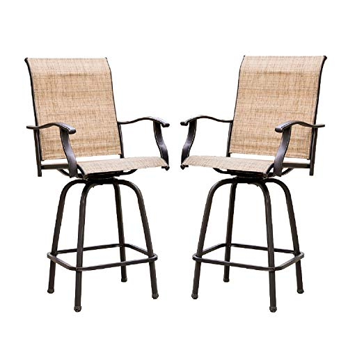 Lokatse Home 2 Piece Swivel Bar Stools Outdoor High Patio Chairs Furniture With All Weather Metal Frame