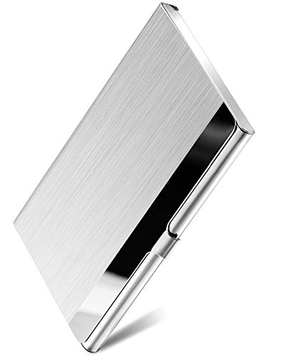 Maxgear Professional Metal Business Card Holder Pocket Business Card Case Slim Business Card Carrier Business Card Holders Wallet For Men & Women, 3.7 X 2.3 X 0.3 Inches, Stainless Steel, Silver