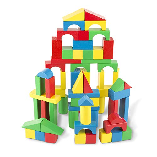 Melissa & Doug Wooden Building Blocks Set (developmental Toy, 100 Blocks In 4 Colors And 9 Shapes, Great Gift For Girls And Boys Best For 3, 4, 5, 6, 7, And 8 Year Olds)