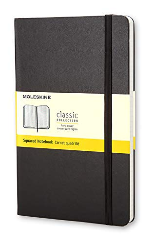 """Moleskine Classic Notebook, Hard Cover, Large (5"""" X 8.25"""") Squared/grid, Black, 240 Pages"""