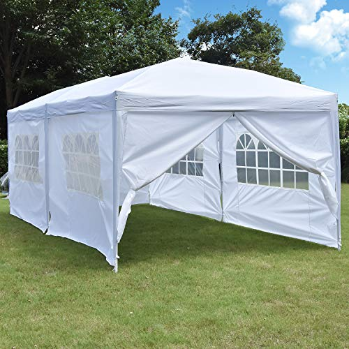 Nsdirect 10 X 20 Ft Pop Up Outdoor Canopy Tent,heavy Duty Easy Portable Wedding Party Tent Carrying Bag Adjustable Folding Gazebo Pavilion Patio Shelter With 6 Removable Side Walls Tent,white