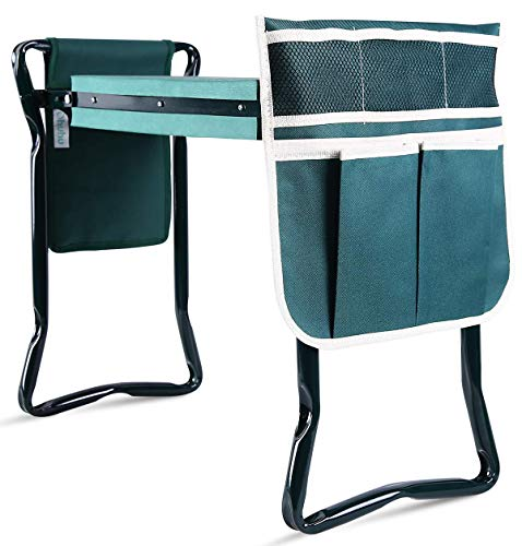 Ohuhu Upgraded Garden Kneeler And Seat With Thicken & Widen Soft Kneeling Pad, Foldable Garden Stool Bonus 2 Large Tool Pouches, Sturdy Garden Tools Garden Accessories, Idea Gifts For Gardeners