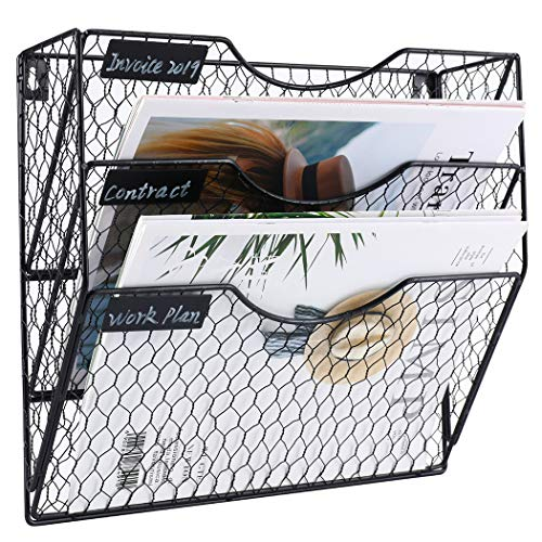 Pag Wall File Holder Hanging Mail Organizer Metal Chicken Wire Wall Mount Magazine Rack, 3 Tier, Black