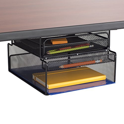 Safco Products 3244bl Onyx Mounted Under Desk Hanging Storage, Convenient Organization, Ideal For Sit Stand Workstations, Black