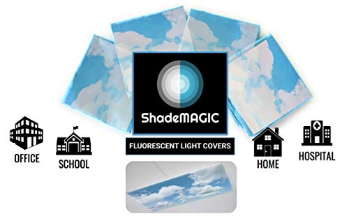 Shademagic Fluorescent Light Covers For Classroom Office Light Filter Pack Of (4); Eliminate Harsh Glare That Causing Eyestrain And Head Strain. Office & Classroom Decorations. Light Diffusers (4)