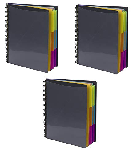 Smead 24 Pocket Poly Project Organizer, Letter Size, 1/3 Cut Tab, Gray With Bright Colors, 3 Pack (89206)