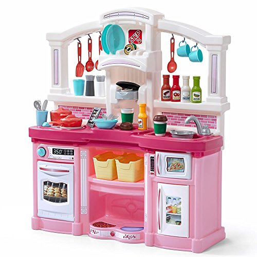 Step2 Fun With Friends Kitchen | Large Plastic Play Kitchen With Realistic Lights & Sounds | Pink Kids Kitchen Playset & 45 Pc Kitchen Accessories Set