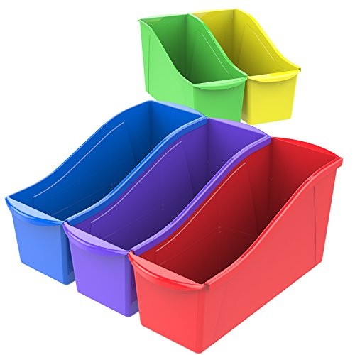 Storex Large Book Bins, 14.3 X 5.3 X 7.1 Inches, Assorted Colors, 30 Pack