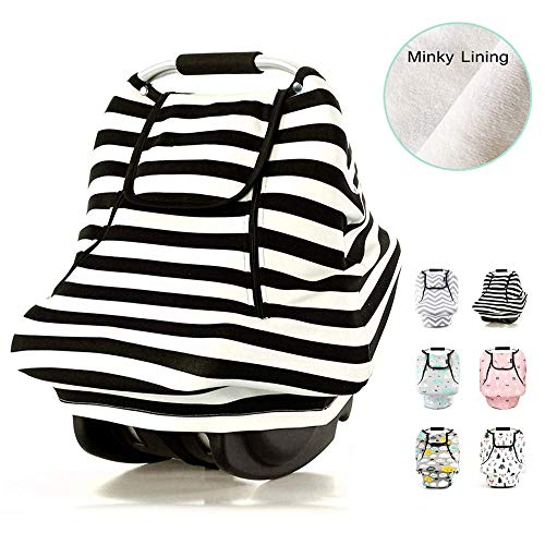 Stretchy Baby Car Seat Covers For Boys Girls Infant Car Canopy Spring Autumn Winter,snug Warm Breathable Windproof, Adjustable Peep Window,insect Free,universal Fit,black White Stripe Patented Design