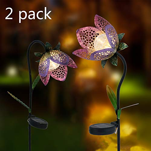 Teresa's Collections 29.5 Inch 2 Pack Metal Solar Flower Lights, Solar Garden Lights Flower Stake With Crackle Glass Ball For Outdoor Patio Yard Decorations