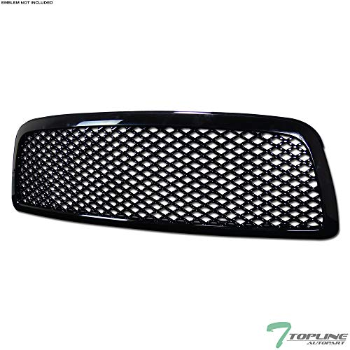 Topline Autopart Black Mesh Front Hood Bumper Grill Grille Abs For 09 12 Dodge Ram 1500