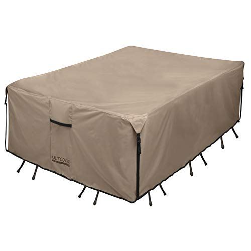 Ultcover Rectangular Patio Heavy Duty Table Cover 600d Tough Canvas Waterproof Outdoor Dining Table Chair Set Cover Size 111l X 74w X 28h Inch