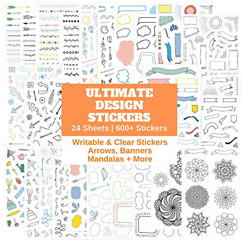 Ultimate Design Elements Planner Stickers Set Huge Value Pack Of Cool Scrapbooking Or Bullet Journal Supplies Clear Stickers, Banners, Arrows, Mandala Coloring, For Bullet Journals By Sunny Streak