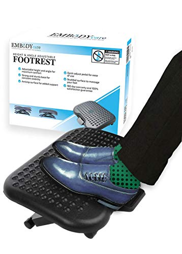 Under Desk Foot Rest & Adjustable Footrest Ergonomic Footrest For Desk Soothes Your Tired & Achy Feet Office Foot Rest Under Desk With Foot Massager (charcoal Grey) Best Footrests By Embody Care