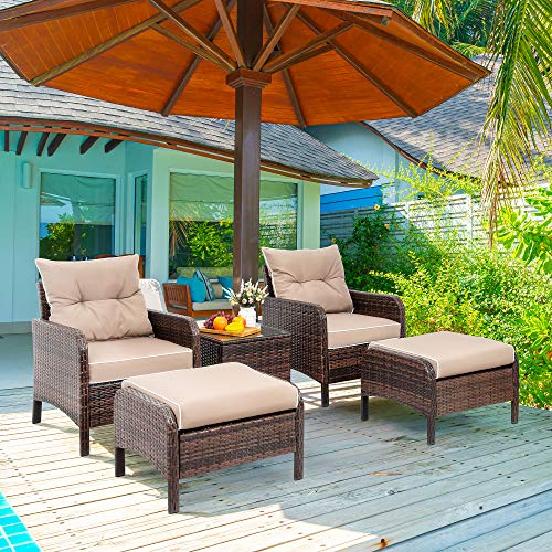 Viogarden 5 Piece Patio Conversation Set, Small Pe Wicker Outdoor Chat Set Lounge Chair Porch Furniture With Cushioned Patio Chairs, Ottoman Set, Glass Side Table For Lawn Pool Balcony, Coffee Brown