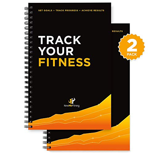 Workout Log Book & Fitness Journal 25 Week Designed By Experts, W/ Illustrations : Track Gym, Bodybuilding & Crossfit Progress : Sturdy Binding, Thick Pages & Laminated, Protected Coverm, Pack Of 2