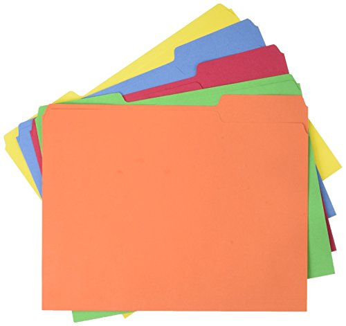 Amazonbasics Amz401 File Folders Letter Size (100 Pack) Assorted Colors