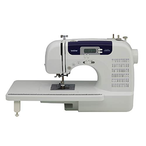 Brother Computerized Sewing And Quilting Machine, Cs6000i, 60 Built In Stitches, 7 Styles Of 1 Step Size Buttonholes, Wide Table, Hard Cover, Lcd Display And Auto Needle Threader, Beige/blue