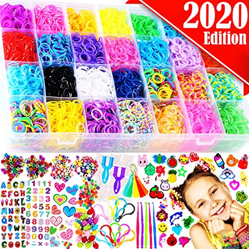 Funzbo Rubber Bands Bracelet Making Kit Loom Bands Maker Refill Kits Set 10 In 1 Super 11900+ Rainbow Rubberband Diy Crafting Craft Art Bracelets Accessories Gift For Kids Age 5 6 7