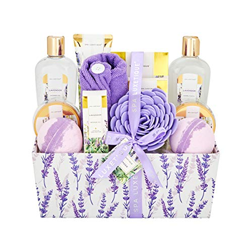 Spa Luxetique Bath Spa Gift Baskets Lavender, Premium 12pc Gift Baskets For Women, Home Spa Gift Set With Soap, Massage Oil, Bath Bomb, Dry Hair Cap, Bath Puff, Body Lotion, Best Gift Set For Women.