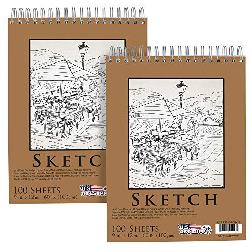 """U.s. Art Supply 9"""" X 12"""" Premium Spiral Bound Sketch Pad, (pack Of 2 Pads) Each Pad Has 100 Sheets, 60 Pound (100gsm) (pack Of 2 Pads)"""