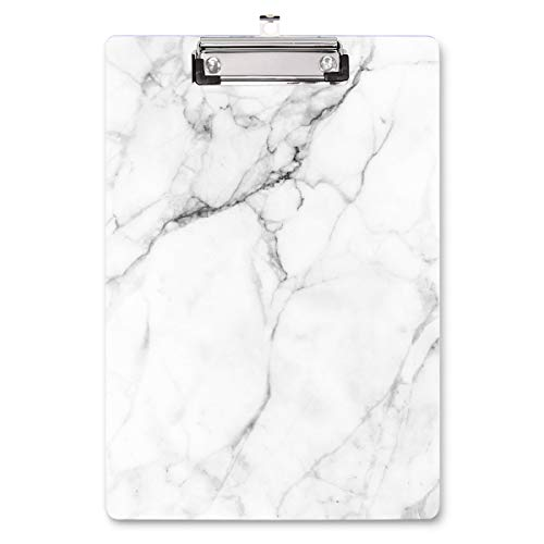 """Waveyu Clipboard, Cute Decorative Letter Size Clipboard, Low Profile Paperboard Chic Design Clipboard For Students Nurse School, Home, Or Office Supplies(12.5""""x8.5""""), White Marble"""