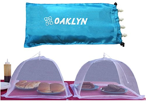 (4pk) 16 Inch Collapsible Mesh Food Cover Tent Umbrella Set With Storage Bag Reusable Covers Protect From Flies And Bugs Best Net Protector For Outdoor Bbq Party Picnic Wedding And Easily Fold Up