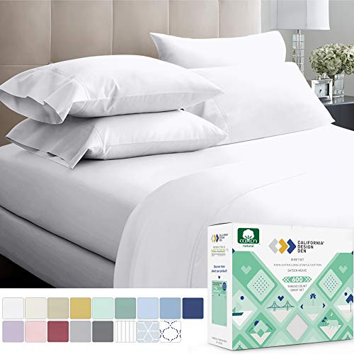 600 Thread Count 100% Cotton Sheets Pure White King Size, 4 Piece Extra Long Staple Combed Cotton Best Bedding Sheet Set For Bed, Breathable, Soft & Silky Sateen Weave Fits Mattress 16'' Deep Pocket