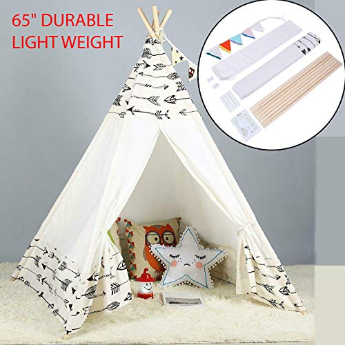 """65"""" Durable And Light Weight Large Cotton Canvas Kids Teepee Tent Childrens Wigwam Indoor Outdoor Play House For Sleepover Parties, Baby Showers, Weddings, Birthdays & Beach Parties Best Gift For Kid"""