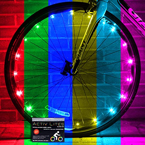 Activ Life Bicycle Spoke Lights (2 Tires, Color Changing) Top Fun Accessory For Cool Beach Cruisers, Mountain, Bmx Trick, Road, Recumbent, Commuting, Tandem, Kids & Folding Bike Best Wheel Lights