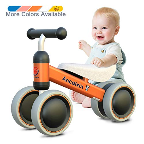 Ancaixin Baby Balance Bikes 10 24 Month Children Walker | Toys For 1 Year Old Boys Girls | No Pedal Infant 4 Wheels Toddler Bicycle | Best First Birthday New Year Holiday Orange