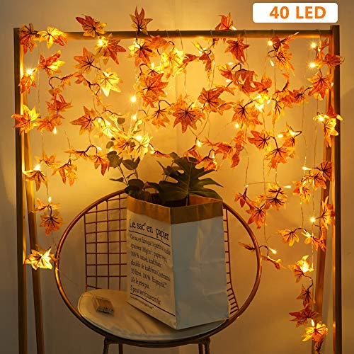 Beferr Maple Leaves Garland Decorations String Lights Best Decor For Halloween Christmas Thanksgiving Wedding Party Autumn Harvest Festival 19.7 Feet 40 Led