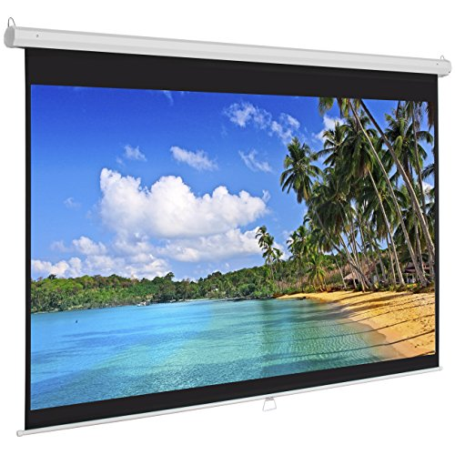 Best Choice Products 119in Hd Indoor Pull Down Manual Widescreen 1:1 Gain Projector Screen For Home Theater, Office, Entertainment, White