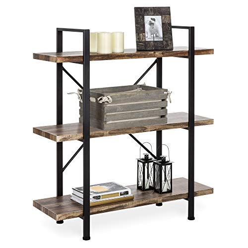 Best Choice Products 3 Tier Industrial Bookcase, Open Wood Shelves W/metal Frame, Home And Office Storage Display Furniture, Brown/black