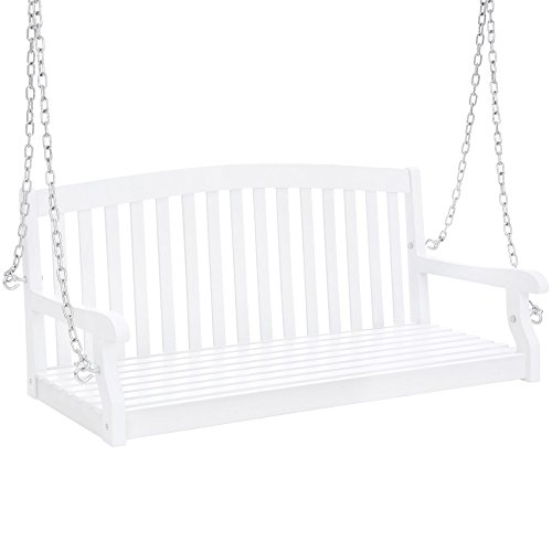 Best Choice Products 48in Wooden Curved Back Hanging Porch Swing Bench W/metal Chains For Patio, Deck, Garden White