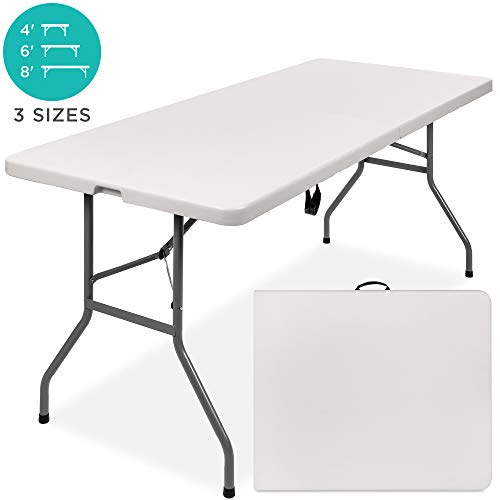 Best Choice Products 6ft Indoor Outdoor Portable Folding Plastic Dining Table W/handle, Lock For Picnic, Party, Camping White