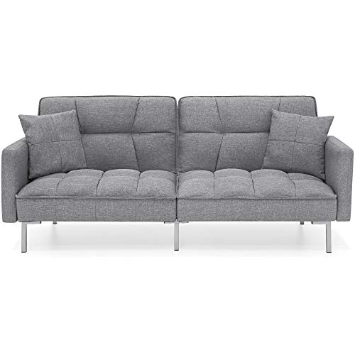Best Choice Products Convertible Linen Splitback Futon Sofa Couch, Living Room Furniture W/tufted Fabric, Pillows Dark Gray