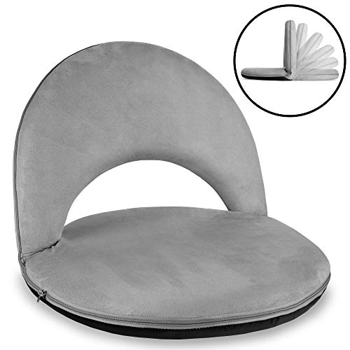 Best Choice Products Multipurpose Adjustable Floor Chair Cushioned Recliner For Gaming, Reading, Meditation W/microfiber Machine Washable Cover, Easy Storage Gray