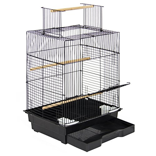 Best Choice Products Pet Supplies 24in Bird Cage W/open Play Top For Parakeets And Small Birds Black