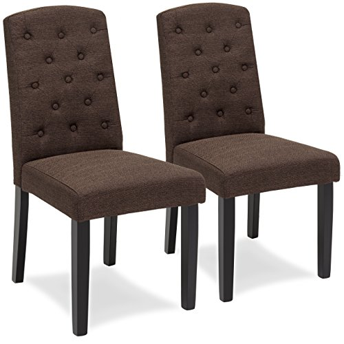 Best Choice Products Set Of 2 Tufted Fabric Parsons Dining Chairs Home Furniture For Dining And Living Room Espresso