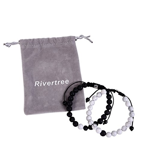 Black Lava Rock White Howlite Beads With Braided Rope Adjustable Distance Bracelets Couples Relationship Best Friend Set Of 2