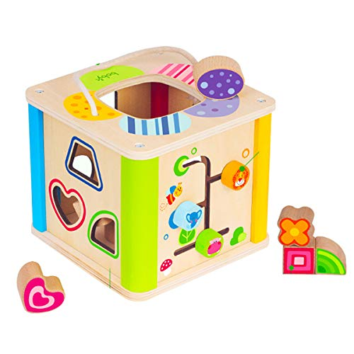 Boby Shape Sorting Cube Toys, Wooden Sorter Activity Center For Toddlers,educational Learning Toys With Bead Maze And Bright Colours, Great Gift For Girls And Boys Best For1, 2, And 3 Year Olds