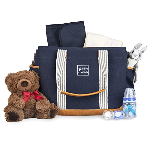 Diaper Bag For Girls And Boys Large Capacity Baby Bag Nappy Bag Diaper Tote Plus Changing Pad, Stroller Straps And 10 Pockets Best Baby Shower Gift By 7senses (navy Blue)