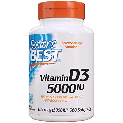 Doctor's Best Vitamin D3 5,000 Iu For Healthy Bones, Teeth, Heart And Immune Support, Non Gmo, Gluten Free, Soy Free, 360 Count (pack Of 1)