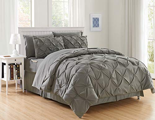 Elegant Comfort Luxury Best, Softest, Coziest 8 Piece Bed In A Bag Comforter Set On Amazon Silky Soft Complete Set Includes Bed Sheet Set With Double Sided Storage Pockets, Full/queen, Gray