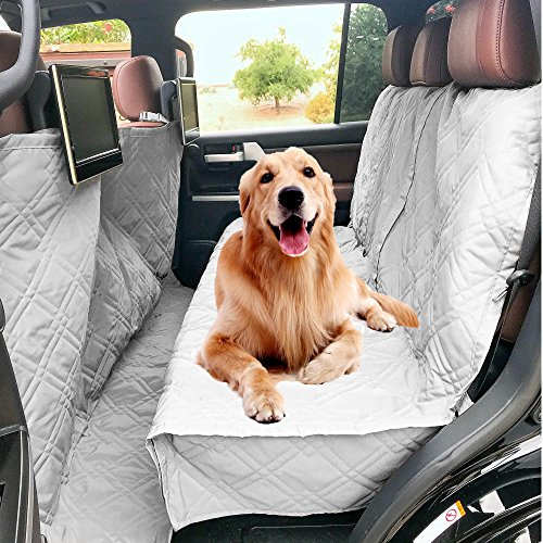 """Formosa Covers Deluxe Quilted And Padded Dog Car Back Seat Cover With Non Slip Back Best For Car Truck And Suv Travel With Your Pet Mess Free Universal Fit 56""""x94"""", Grey"""