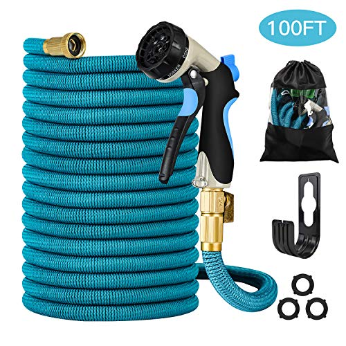 Garden Hose Heavy Duty, Flexible, Expandable, Retractable, Collapsible, Compact, Safe, Lightweight No Tangle, Kink Or Coil, Easy Storage Best Waterhose For Gardening, Free Nozzle (100 Ft)