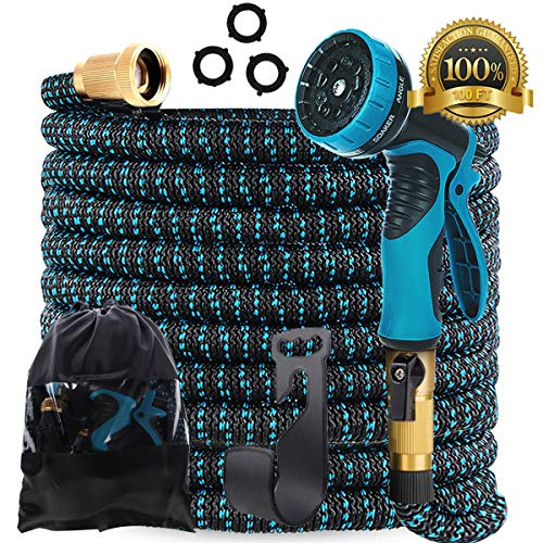 Gardguard 100ft Expandable Garden Hose: Water Hose With 9 Function Nozzle And Durable 3 Layers Latex, Flexible Water Hose With Solid Brass Fittings, Best Choice For Watering And Washing