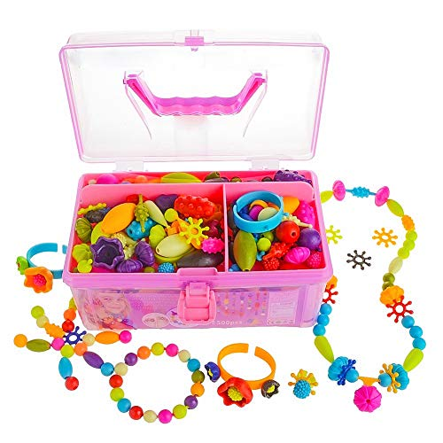 Gili Pop Beads, Jewelry Making Kit For 4, 5, 6, 7 Year Old Little Girls, Arts And Crafts Toys For Kids Age 4yr 8yr, Necklace Bracelet Creativity Snap Set, Top Best Christmas Birthday Gifts (500pcs)